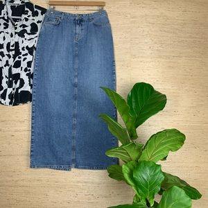 Lucky Brand Dungarees Maxi 5 Pocket Denim Skirt